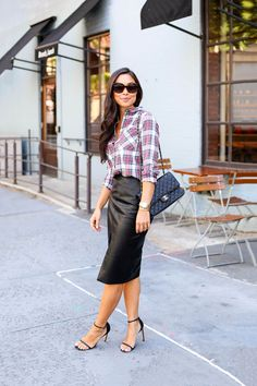 Leather + Plaid - Topshop shirt c/o // Topshop skirt Stuart Weitzman heels // Chanel Celine sunglasses // Necklace Thursday, August 27, 2015
