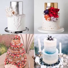 Silver gold hot cold... Take your pick from these wonderful wedding cakes #weddingwednesday #weddingcake #weddingfood #tiers #silver #silverfoil #gold #goldfoil #strawberry #blueberry #victoriasponge #jam #thistle #red #blue #warmcolours #coolcolours #colourinspiration #colorinspiration #cake #cakestagram #weddingblog #weddingblogger #londonblog #londonblogger #devinebride pics by @cake_ink @whimsicalwonderlandweddings @sabinamotasem