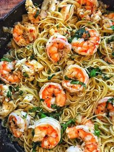 Let's just get right into it. Cuz it's that good! -1 pound of angel hair pasta -3 tablespoons of olive oil -3 tablespoons of butter -1/2 pound of shrimp, cleaned -1/2 pound of lobster m…