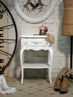 Painted Cottage Chic Shabby White French Night by paintedcottages, $175.00