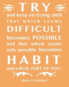 Try and keep on trying until that which seems difficult becomes possible and that which seems only possible becomes habit and a real part of you.  Dieter F. Uchtdorf