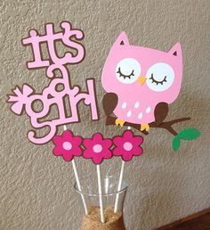 It's A Girl - Pink and Brown Owl Baby Shower Centerpiece on Etsy, $10.00