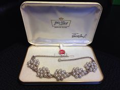Cultured Pearl and Rhinestone Sterling Silver Necklace by Van Dell- Vintage 1950's Wedding Jewelry on Etsy