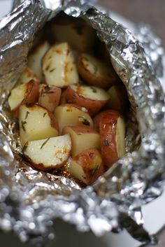 "Grilled Red Potato Salad - Good for camping, or let's do everying on the grill! I needed to make a ""dairy-free"" red potato for those of us who are not having dairy products these days."