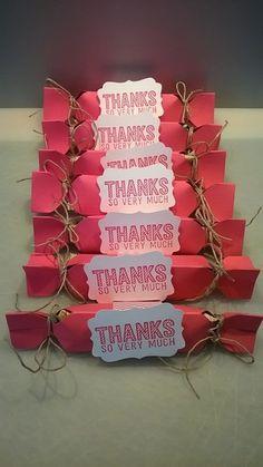 Dreieckige Klallbonbons, SAB 2015, Stampin Up Envelope Punchboard, dekoratives Etikett, Flüsterweiss und wassermelone