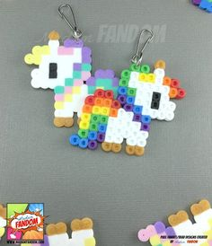 Pastel Unicorn Party Favors or Rainbow Unicorn Party Favors - Madam FANDOM Pixel Art Handmade in the USA! _____________________________________________ You are purchasing a set of Rainbow or Pastel Unicorn Party Favors! These favors are created from Perler Beads, Perler Bead Art, Fuse Beads, Melty Bead Patterns, Pearler Bead Patterns, Beading Patterns, Peyote Patterns, Perler Bead Designs, Rainbow Unicorn Party