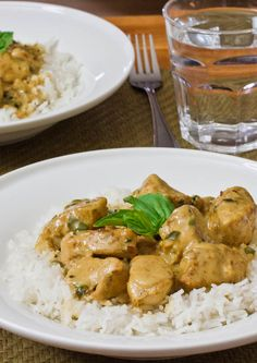 Curry Chicken in Basil Coconut Sauce - delicious curry chicken in a creamy basil coconut sauce.