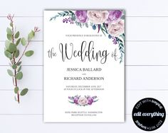Floral Boho Wedding invitation Template - Floral Wedding Printable Invitation - Instant Download Wedding Invitations - Printable Invitation by MintedMemories on Etsy