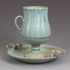 Pete Scherzer  _Love the cup shape and glaze method  _Color options:   *Top=Dark/light green   *Bottom/Base= Little/No glaze