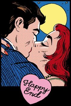 HUGE LAMINATED / ENCAPSULATED Happy End retro Kiss Pop Art POSTER measures 36 x 24 inches (91.5 x 61cm)