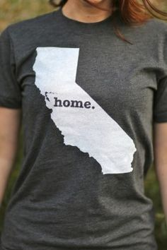 The California Home T-shirt is a stylish way to show off your state pride. The shirt has a simple design, but it's statement says so much. Show your state pride by purchasing a Home T today. Note: a portion of profits is donated to multiple sclerosis research.