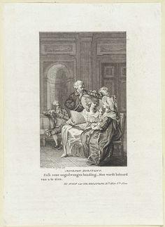Reinier Vinkeles | Twee dames voeren een gesprek, Reinier Vinkeles, 1787 | In een vertrek voeren twee dames een gesprek. Een van hen heeft een waaier vast. Op de achtergrond twee heren, waarvan er een leest.