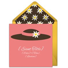 Free Kentucky Derby party invitation with a daffodil hat design. Love this design for a party with friends to watch the Kentucky Derby!