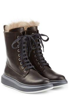 #Brunello #Cucinelli #Leder, #Boots mit #Fellbesatz #, #Braun für #Damen…