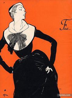 Christian Dior 1950 Evening Gown, René Gruau