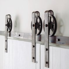 this is a beautiful double door vintage spoked industrial steel sliding barn door hardware set made in the usa by hand from high quality rugged - Bypass Barn Door Hardware