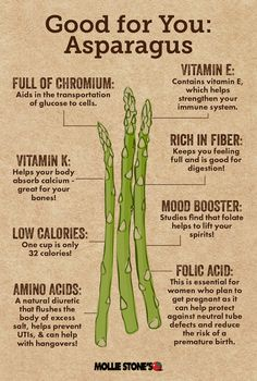 Asparagus is an incredibly nutritious and delicious vegetable that is good for your health! We've put together a helpful infographic to show you all of the benefits of eating this delightful … Vegetable Benefits, Holistic Nutrition, Health And Nutrition, Health Tips, Iron Diet, Health Chart, Salud Natural, Health