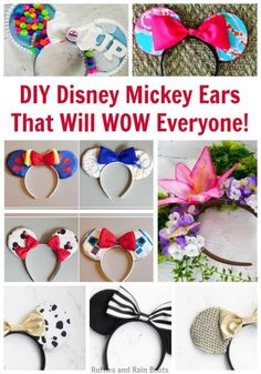 DIY Disney Mickey Ears are Disney mouse ears you make yourself. These fun ideas and tutorials will save you money and let you craft your vision! #Disney #disneycrafts #disneymickey #mickeymouse #mouseears #diymouseears #rufflesandrainboots via @momtoelise