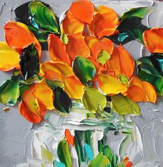 Oil Painting Abstract Orange Wildflowers by IronsideImpastos, $40.00