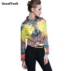 USUALYEAH New Women Shirt Blouse Office Lady Long Sleeve Fashion Print Work Wear Turn down Collar blusa S M L XL XXL SY0313 #Affiliate