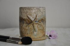 Wheel Thrown Makeup Brush Holder / Cup - Ready to Ship by ShawnaPiercePottery on Etsy