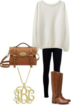 Fall Outfit:  Oversized White Sweatshirt, Black Skinny Jeans or Leggings, Tan Boots and Handbag, Monogram Necklace.