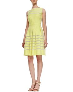 Zoe Woven Shadow-Stripe Dress by Lafayette 148 New York at Neiman Marcus.