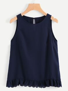 Shop Scallop Ruffle Hem Buttoned Keyhole Back Shell Top online. SHEIN offers Scallop Ruffle Hem Buttoned Keyhole Back Shell Top & more to fit your fashionable needs. Outfits For Teens, Cute Outfits, Mode Plus, Girl Fashion, Fashion Outfits, Ootd Fashion, Shell Tops, Stitch Fix Outfits, Blouse Designs
