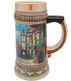 Ceramic Beer Stein Tankard German Rothenberg Village Scene (1 Liter), 2015 Amazon Top Rated Beer Mugs & Steins #Kitchen