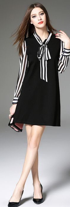Black Bow Collar Long Sleeves Striped Dress