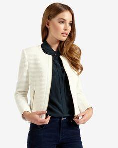 Textured cropped jacket - Cream | Jackets & Coats | Ted Baker UK