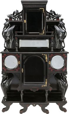 A Victorian Aesthetic Movement Ebonized and Polychrome Wood and Mirrored Side Cabinet, circa Aesthetic Era, Aesthetic Movement, Victorian Steampunk, Victorian Art, Dream Furniture, Cool Furniture, Victorian Furniture, Antique Furniture, Art Nouveau