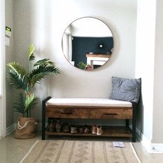 Mini Foyer Makeover - Harlow & Thistle - Home Design - Lifestyle - DIY Hallway Decorating, Entryway Decor, Foyer Furniture, Farmhouse Furniture, Furniture Ideas, Hallway Designs, Minimalist Furniture, Home Interior Design, Living Room Designs