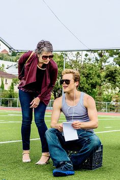 Melissa McBride on the set of The Happys with Jack DePew.
