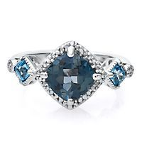 London Blue Topaz Ring with Diamond Accents in Sterling Silver