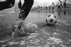 Soccer on the beach.