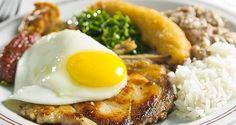 Virado à Paulista: arroz e tutu de feijão, bisteca de porco, linguiça, torresmo ou bacon frito, couve, ovo frito e banana à milanesa.
