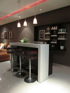 Decorating your ideal home bar design. Consider yourself lucky if you've got your own home bar - it's a perfect […] Mini Bars, Modern Home Bar Designs, Modern Design, Bar Sala, Bar Counter Design, Home Bar Furniture, Furniture Ideas, Furniture Stores, Furniture Movers