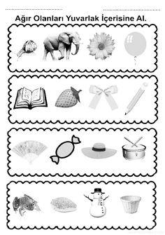 Ağır hafif kavramı çalışma sayfası ve ağır hafif miktar kavramları çalışmaları etkinliği, oyunu örnekleri kağıdı indirme ve çıktı yazdırma. Free heavy and light worksheets download printable. Worksheets, Crafts For Kids, Place Card Holders, Printables, How To Plan, Words, Crafts For Children, Kids Arts And Crafts, Print Templates