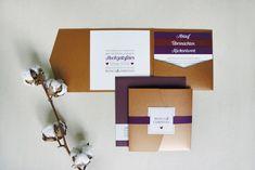 pocketfold einladungskarte in kupfer, marsala und aubergine | wedding invitation in copper and marsala