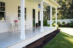 farmhouse porch without rails   Found on acountryfarmhouse.blogspot.ca