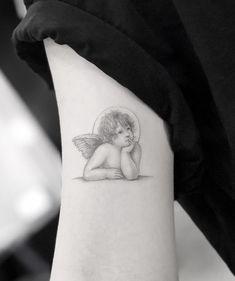 Elegant Cherub Tattoo - All Fashion Ideas Here! Baby Tattoos, New Tattoos, Foot Tattoos, Tribal Tattoos, Sleeve Tattoos, Tatoos, Skull Tatto, Neck Tatto, Wings Tattoo Meaning