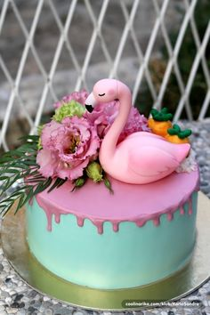 Flamingo Cake, Flamingo Birthday, Flamingo Party, Bithday Cake, My Birthday Cake, Luau Party Cakes, Dessert Decoration, Just Cakes, Drip Cakes