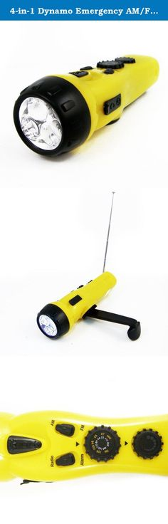 4-in-1 Dynamo Emergency AM/FM Radio LED Flashlight Cell w/ Phone Charger Port. This 4-in-1 Dynamo Emergency Radio is the perfect device for time of need. It features 3 super bright LED lights, dc output for cell phone charging, an emergency siren to help signal and locate the user, as well as an AM/FM Radio with retractable antenna. Great to have in case of natural disasters, blackouts, and other Emergencies. Convenient for Cars, Boats, and other Vehicles. PrimeTrendz TM Products.