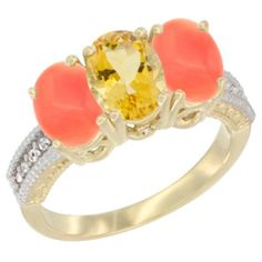 14K Yellow Gold Natural Citrine Ring with Coral 3-Stone 7x5 mm Oval Diamond Accent, sizes 5 - 10