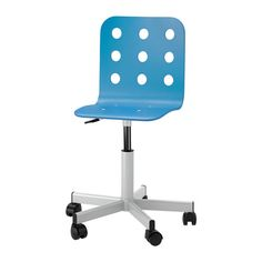 IKEA - JULES, Junior desk chair, blue/silver color, -, , You sit comfortably since the chair is adjustable in height.