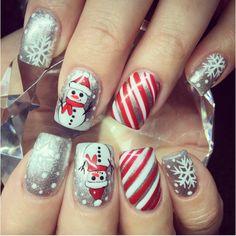 Silver winter christmas nails