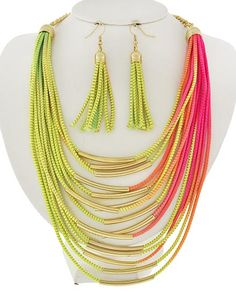 Gold Tone / Multi Color Cord / Lead&nickel Compliant / Fish Hook (earrings) / Multi Row / Necklace & Earring Set