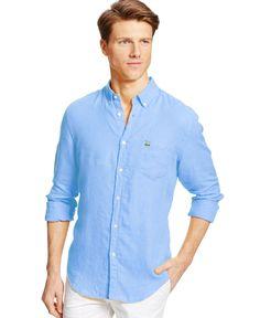 2abf78fcf0724 Lacoste Long-Sleeve Linen Button Down Shirt Camisa De Hombres, Lacoste,  Ropa Informal