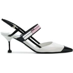d24d034fd25 Prada logo plaque slingback pumps (€840) ❤ liked on Polyvore featuring shoes